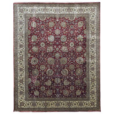 One-of-a-Kind Losoya Mahal Oriental Hand-Woven Wool Red/Gray Area Rug
