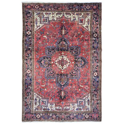 One-of-a-Kind Hiles Semi-Antique Persian Heriz Oriental Hand-Woven Wool Red/Black Area Rug