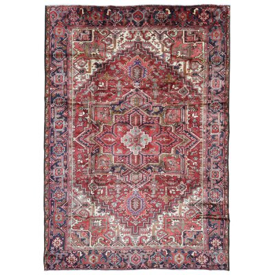 One-of-a-Kind Hilger Semi-Antique Persian Heriz Oriental Hand-Woven Wool Light Red/Beige Area Rug