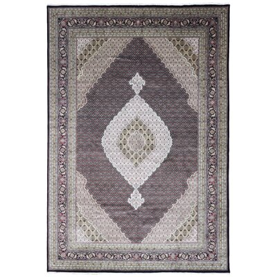 One-of-a-Kind Hill Mahi Tabriz Oriental Hand-Woven Black/Gray Area Rug