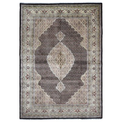 One-of-a-Kind Hillard Mahi Tabriz Oriental Hand-Woven Gray/Black Area Rug
