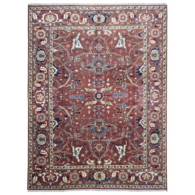 One-of-a-Kind Roselle Oriental Hand-Woven Wool Light Red/Blue Area Rug