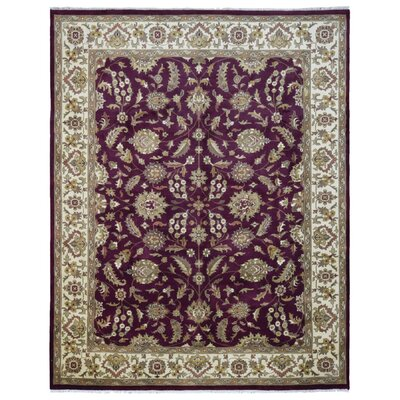 One-of-a-Kind Louane Jaipur Oriental Hand-Woven Wool Plum/Beige Area Rug