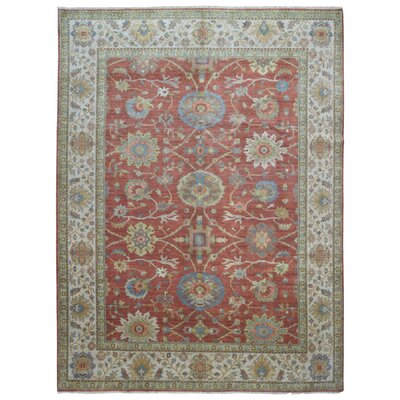 One-of-a-Kind Losada Mahal Oriental Hand-Woven Wool Red/Green Area Rug