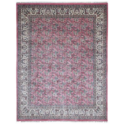 One-of-a-Kind Loucks Kashan Oriental Hand-Woven Wool Pink/Gray Area Rug