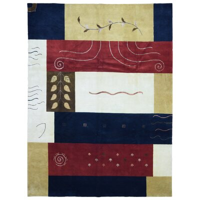 One-of-a-Kind Carlucci Nepali Modern Design Hand-Woven Wool Blue/Red Area Rug