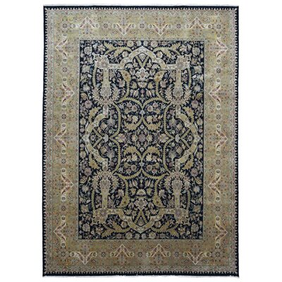 One-of-a-Kind Losey Tabriz Oriental Hand-Woven Wool Black/Brown Area Rug