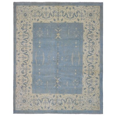One-of-a-Kind Louden Modern Oriental Hand-Woven Wool Light Blue/Beige Area Rug