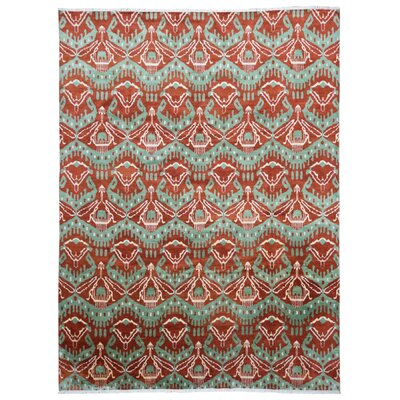 One-of-a-Kind Rosemarie Turkish Knot Hand-Woven Wool Red/Green Area Rug