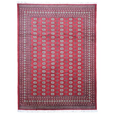 One-of-a-Kind Lorusso Bukhara Oriental Hand-Woven Wool Red/Beige Area Rug