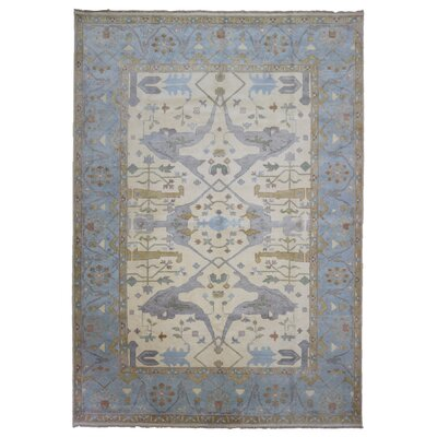 One-of-a-Kind Mitchel Oriental Hand-Woven Wool Beige/Blue Area Rug