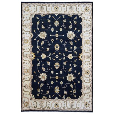 One-of-a-Kind Loranger Pakistan Peshawar Oriental Hand-Woven Wool Black/Beige Area Rug