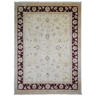 One-of-a-Kind Losh Pakistan Peshawar Oriental Hand-Woven Wool Beige/Dark Brown Area Rug