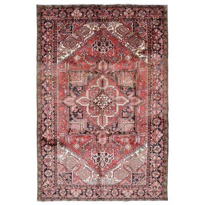 One-of-a-Kind Hille Semi Antique Persian Heriz Oriental Hand-Woven Wool Light Red/Black Area Rug