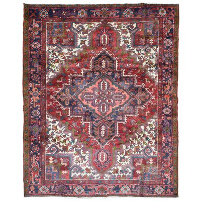 One-of-a-Kind Hillenbrand Semi-Antique Persian Heriz Oriental Hand-Woven Wool Red/Blue Area Rug