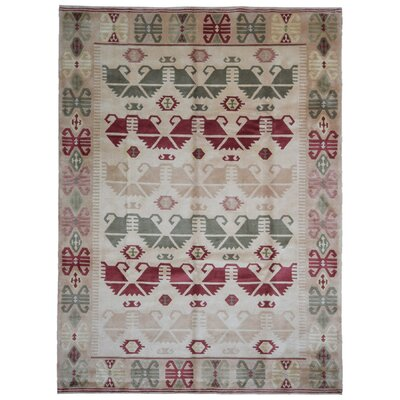 One-of-a-Kind Hillside Avenue Nepali Oriental Hand-Woven Wool Beige/Red/Green Area Rug