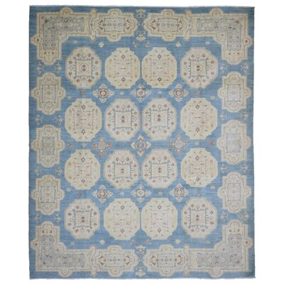 One-of-a-Kind Hillyer Pakistan Peshawar Oriental Hand-Woven Wool Light Blue/Beige Area Rug