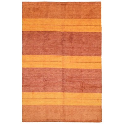 One-of-a-Kind Kian Gabbeh Hand-Woven Wool Orange/Red Area Rug
