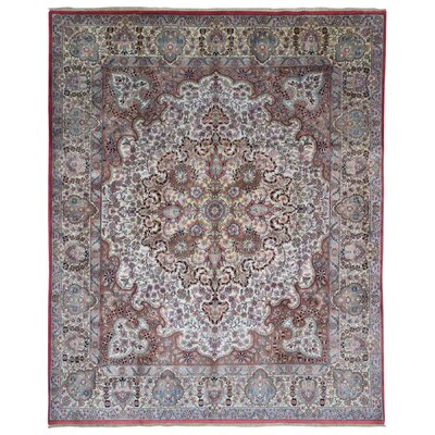 One-of-a-Kind Lovato Tabriz Oriental Hand-Woven Wool Pink/Light Blue Area Rug