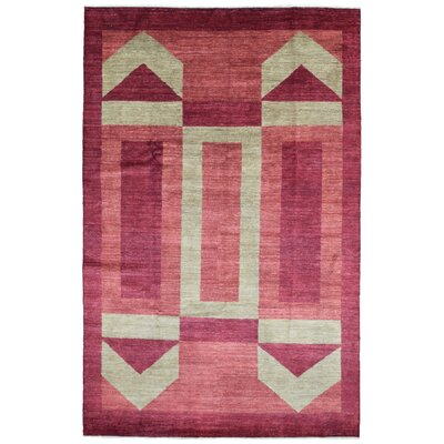 One-of-a-Kind Pakistan Gabbeh Hand-Woven Wool Beige/Pink Area Rug