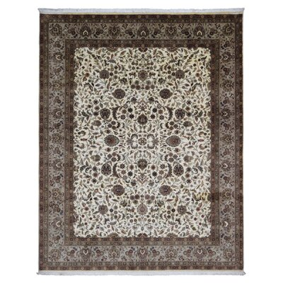 One-of-a-Kind Lovin Tabriz Oriental Hand-Woven Wool Dark Brown/Beige Area Rug