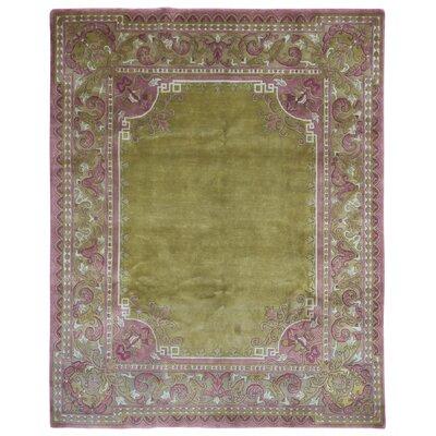 One-of-a-Kind Lovins Nepali Oriental Hand-Woven Wool Green/Purple Area Rug