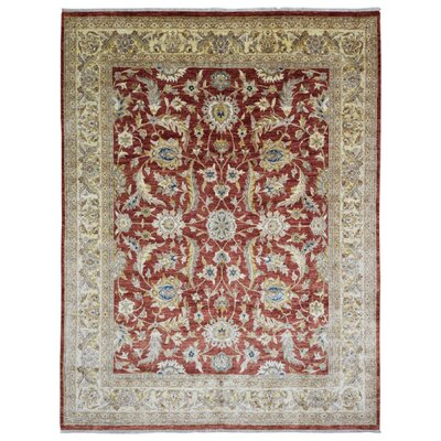 One-of-a-Kind Lowenstein Pakistan Peshawar Oriental Hand-Woven Wool Red/Beige Area Rug