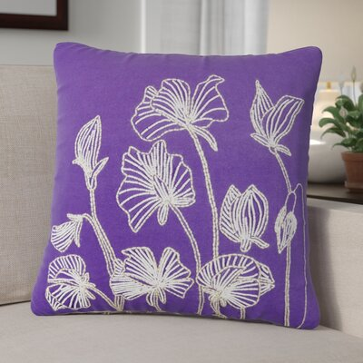 Arvind Beaded Lilly Flower 100% Cotton Throw Pillow