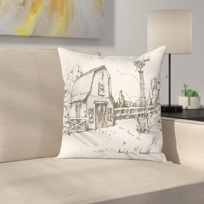 Windmill Decor Rustic Farmhouse Square Pillow Cover Size: 24 x 24