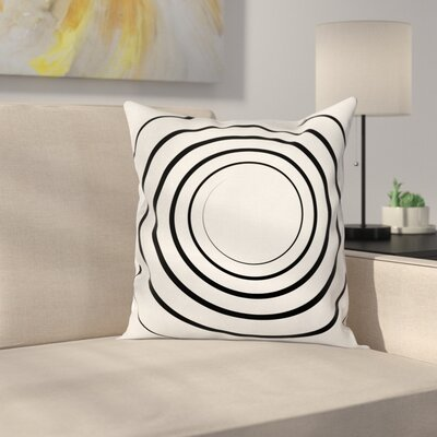 Spiral Shape Monochrome Square Pillow Cover Size: 18 x 18