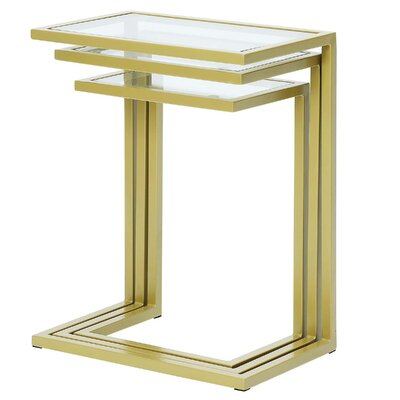 Kilburn 3 Piece Nesting Table Color: Gold