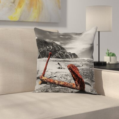 Anchor Rusty Vintage Beach Square Pillow Cover Size: 18 x 18