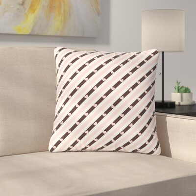 Vasare Nar Stripe Heart Love Outdoor Throw Pillow Size: 16 H x 16 W x 5 D