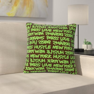 Just L Lux Writing Urban Typography Outdoor Throw Pillow Color: Green/Brown, Size: 16 H x 16 W x 5 D