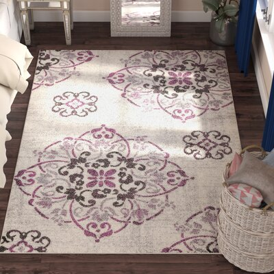 Clarice Medallion Ivory/Purple Area Rug Rug Size: 5'3