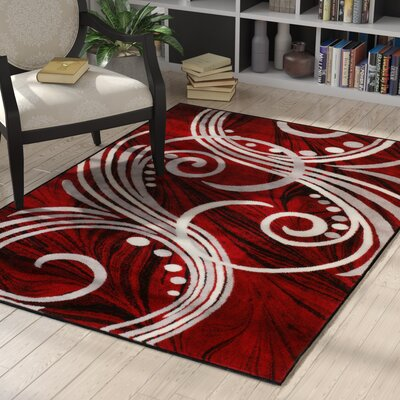 Vickers Red Area Rug Rug Size: 5 x 7