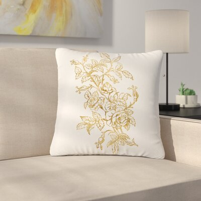 888 Design Golden Vintage Rose Floral Digital Outdoor Throw Pillow Size: 16 H x 16 W x 5 D