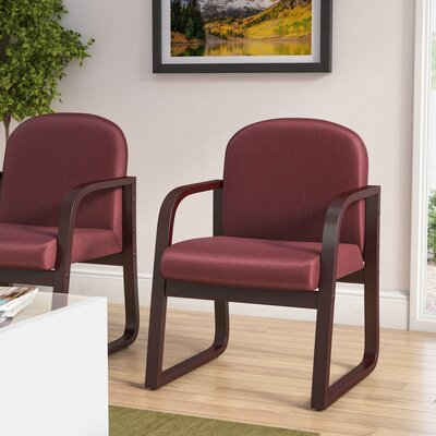 Reception Arm Chair Fabric: Burgundy, Finish: Mahogany
