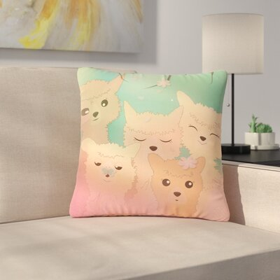 Graphic Tabby Spring Alpacas Animals Outdoor Throw Pillow Size: 18 H x 18 W x 5 D