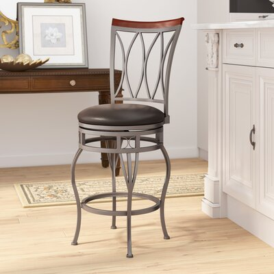 Vickery 24 Swivel Bar Stool Upholstery: Espresso