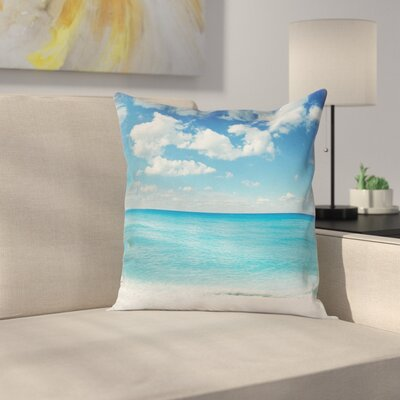 Exotic Beach Vivid Sky Cushion Pillow Cover Size: 18 x 18