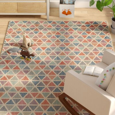 Paulette Aqua/Coral Area Rug Rug Size: Rectangle 53 x 710