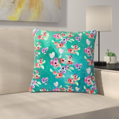 Zara Martina Mansen Signs of Spring Outdoor Throw Pillow Size: 18 H x 18 W x 5 D, Color: Green/Purple