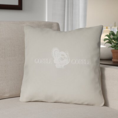 Gobble Square Indoor/Outdoor Throw Pillow Size: 18 H x 18 W x 4 D, Color: Beige/White
