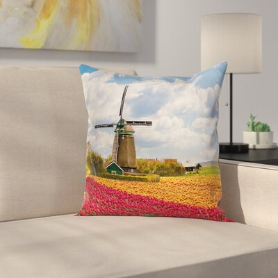 Windmill Decor Abundant Field Square Pillow Cover Size: 18 x 18