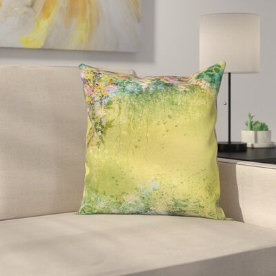 Flower Spring Foliage Vintage Square Pillow Cover Size: 24 x 24