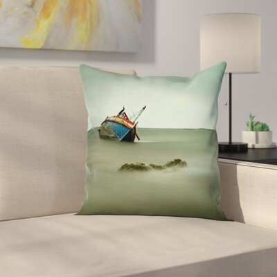 Vintage Abandoned Fishing Boat Square Pillow Cover Size: 24 x 24