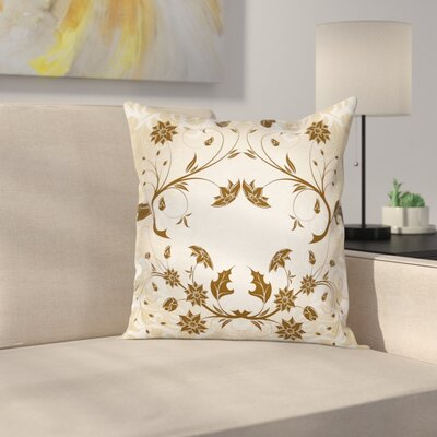 Floral Swirled Petals Leaves Cushion Pillow Cover Size: 18 x 18