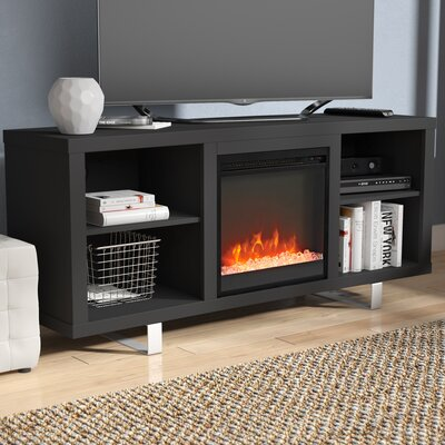 Depasquale 58 TV Stand with Fireplace Finish: Black