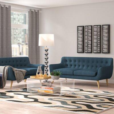 Meggie 2 Piece Living Room Set Upholstery: Azure